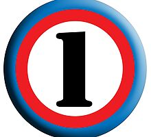 NUMBER 1, Roundel, TEAM SPORTS, FIRST, ONE, 1, Numero Uno, Competition, White on Black by TOM HILL - Designer