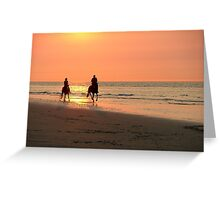 Horse ride at sunset Greeting Card