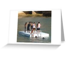 Boys on Raft Avalon Greeting Card