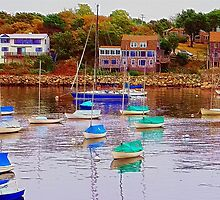 New England Coastal Village by Monika Fuchs