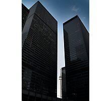 CN tower between skyscrapers, Toronto Photographic Print