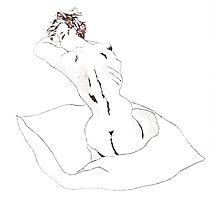 Cushion Nude- Abstract etching Photographic Print