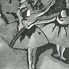After Degas- black and white etching by Sandra Lock