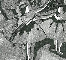 After Degas- black and white etching by © Sandra Lock