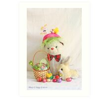 Fatso Bear gets an Easter Basket from the Easter Bunny Art Print