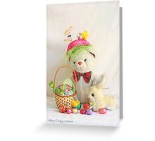 Fatso Bear gets an Easter Basket from the Easter Bunny Greeting Card