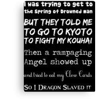90's Anime Nerd Shirt on Black Canvas Print