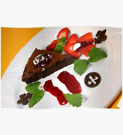 Dessert Avec Tarte au Chocolat  Poster