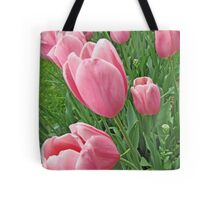 Full Frame Pink Tulips Photograph Tote Bag