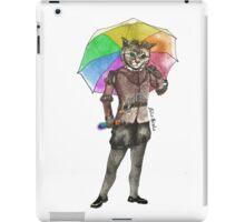 Steampunk Cat with Rainbow Umbrella  iPad Case/Skin