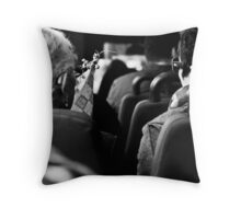 Chatting women on the bus Throw Pillow