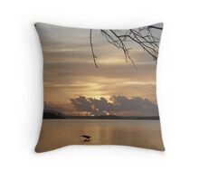 Early morning fisher Throw Pillow