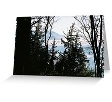 Haystack Rock through the trees Greeting Card