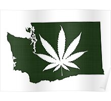 Marijuana Leaf Washington Poster