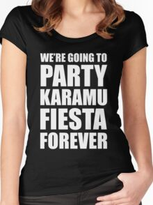 Party Karamu Fiesta Forever (White Text) Women's Fitted Scoop T-Shirt