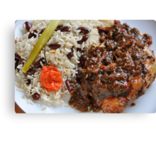 Caribbean Jerk Chicken with Rice and Peas Canvas Print