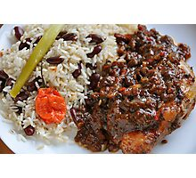 Caribbean Jerk Chicken with Rice and Peas Photographic Print