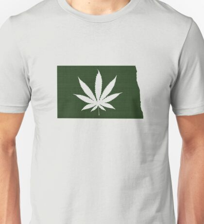 Marijuana Leaf North Dakota Unisex T-Shirt