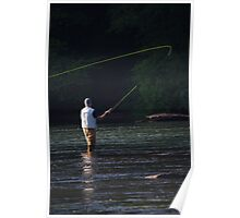 FLY FISHERMAN IN SEARCH OF TROUT Poster