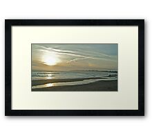 Walkers and dog on Stinson Beach Framed Print