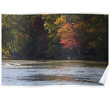 FLY FISHING UNDER AUTUMN LEAVES Poster
