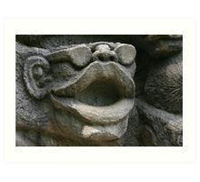 Stone sculpture of big lips Art Print