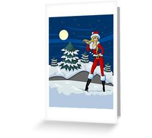 Moon light Santa Girl Greeting Card