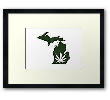 Marijuana Leaf Michigan Framed Print