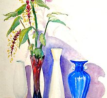 Cool shadows 4 Vases and exotic ginger flowers by FionaLou