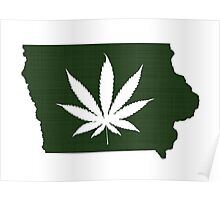 Marijuana Leaf Iowa Poster