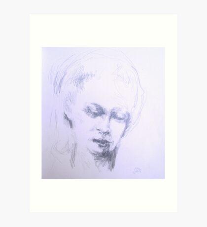 Soft eyes , womans face pencil sketch Art Print