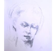 Soft eyes , womans face pencil sketch Photographic Print
