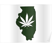 Marijuana Leaf Illinois Poster