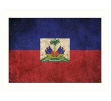 Old and Worn Distressed Vintage Flag of Haiti Art Print
