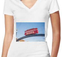 UNIVERSITY HEIGHTS SIGN Women's Fitted V-Neck T-Shirt