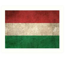 Old and Worn Distressed Vintage Flag of Hungary Art Print