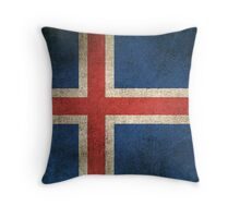 Old and Worn Distressed Vintage Flag of Iceland Throw Pillow