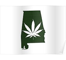 Marijuana Leaf Alabama Poster