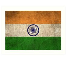 Old and Worn Distressed Vintage Flag of India Art Print
