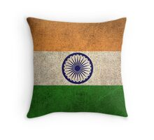 Old and Worn Distressed Vintage Flag of India Throw Pillow