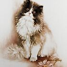 &quot;Cat with Flower&quot; Painting in Oils by Sara Moon