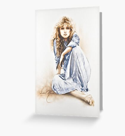 """""""Hippy Girl"""" Painting in Oils Greeting Card"""