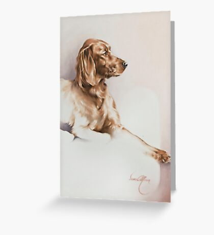 """""""Red Setter"""" Panting in Oils Greeting Card"""