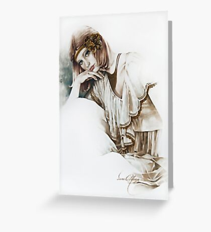 """""""The Thinker"""" Painting in Oils Greeting Card"""