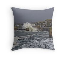 """ Another Storm lashes into Porthleven"" Throw Pillow"