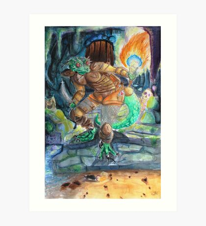 Elder Scrolls Oblivion: Argonian in the Cave Art Print