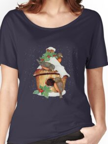 Winter Birds  and Christmas Birdhouse Women's Relaxed Fit T-Shirt