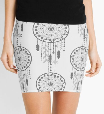 Seamless vector illustration with dream catchers Mini Skirt