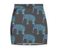 seamless pattern with the patterned elephants Mini Skirt