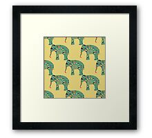 seamless pattern with the patterned elephants Framed Print